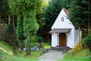 Biała kapliczka murowana w otoczeniu drzew