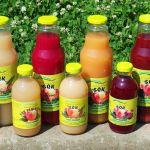 soki owocowe w szklanych butelkach na zielonym tle