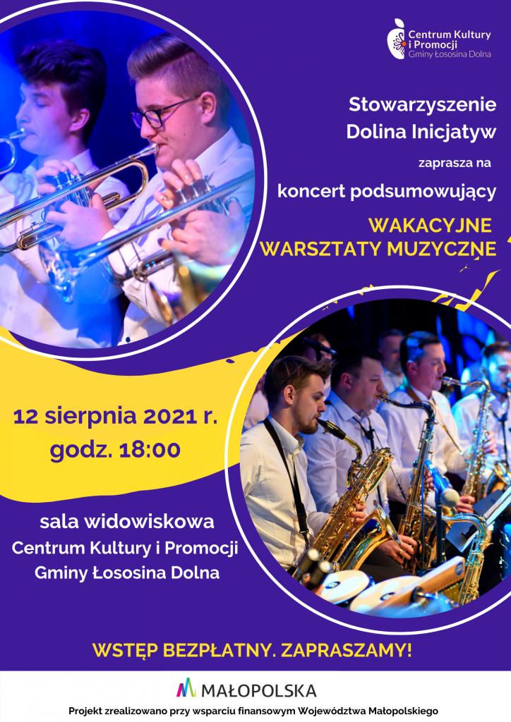 granatowy plakat - koncert podsumowujący warsztaty muzyczne, osoby grające na instrumentach