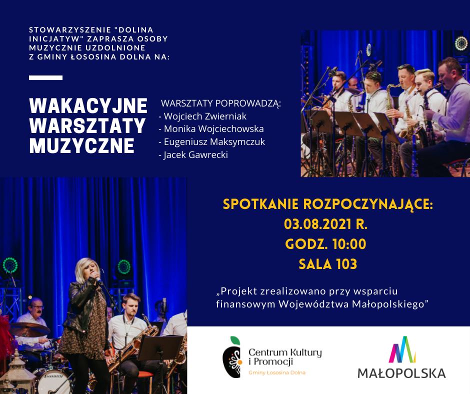 Plakat informacyjny z tekstem i dwoma zdjęciami. Wokalistka śpiewająca na scenie i członkowie orkiestry, grający na instrumentach